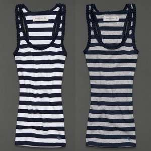 by Hollister Womens Ruffle Stripe Tank Top Shirt Benny NWT