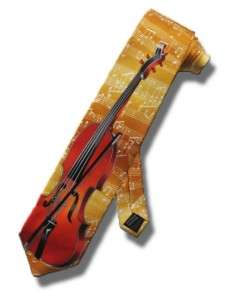 NECKTIE CELLO BASS ORCHESTRAL INSTRUMENT TIE GOLD MUSIC SCORE