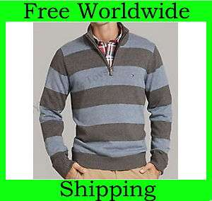 NEW TOMMY HILFIGER MENS PACIFIC STRIPE I/2 HALF ZIP SWEATER