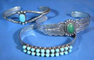 THERE (3) VINTAGE SOUTHWEST TOURQUOISE & STERLING SILVER BRACELET LOT