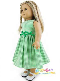 Handmade Cute Green Gingham Summer dress fits 18 American girl doll