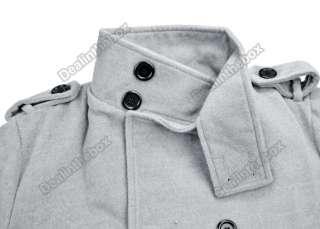 Mens Korea Slim Classic Double Breasted Wool Coat Jacket Windbreak 2