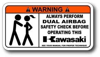 Airbag Check Kawasaki Ninja Warning Sticker Decal 600