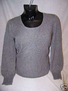 NWT U KNIT 100% PURE CASHMERE SWEATER FLANNEL GRAY LG