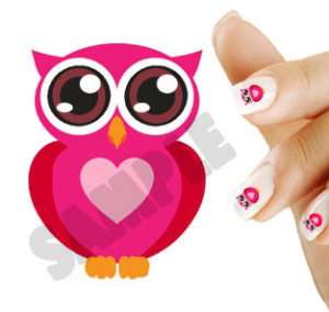 20 Nail Art Decals Cute Valentines Day Owl Heart 6030