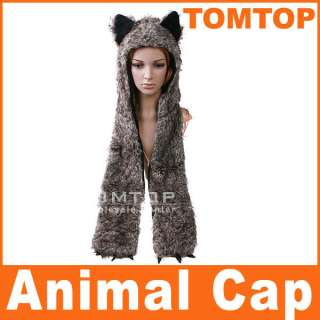 Multifunctional Cartoon Animal Cap Timber Wolf Plush Soft Warm Hat