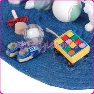 12 Dollhouse Miniature Baby Cushion Toy Set Blue New