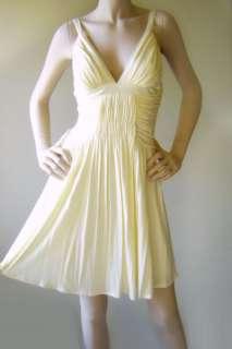 New IVORY Ruched Grecian V Neck Cocktail EVA Dress 6/8