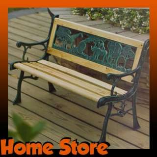 CHILDRENS KIDS GARDEN WOODEN BENCH SEAT CAST IRON LEGS NEW