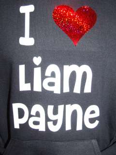 LAIM PAYNE BLACK HOODIE RED HEART ONE DIRECTION 5 15