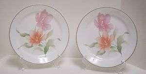 Corning/Corelle Pacifica Dinner Plates Pink Peach Floral Flowers