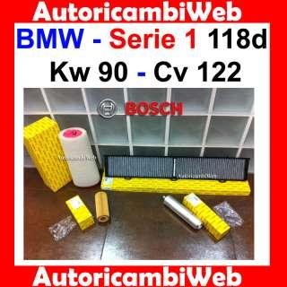 TAGLIANDO 4 FILTRI BOSCH BMW Serie 1 118d Kw 90 Cv 122