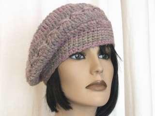 basco cappello donna lana rosa e grigio   fatto a mano alluncinetto