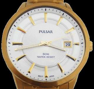 VX42 X259 Pulsar Mens Gents Date Gold Plated Watch