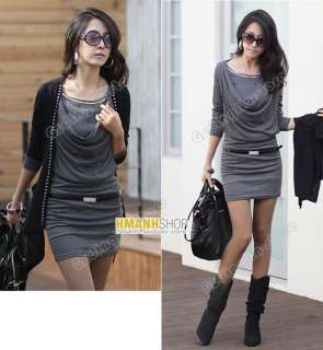 Womens Lady Long Sleeve Cotton Casual Mini Dress #094