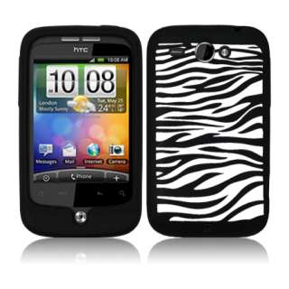 Magic Store   BLACK SILICONE ZEBRA CASE COVER FOR HTC WILDFIRE G8