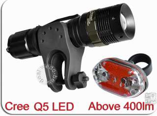 7w Cree Q5 LED Mountain Bike Bicycle Cycle Zoomable Lights + 7 LED