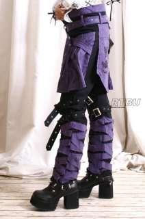 Punk Mummy Spider Gear Pants Jean+Purple Sheild Pleated Skirt Hip Wrap