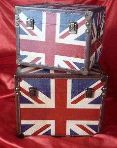 Vintage Style Union Jack Wooden Storage Box Chest Set