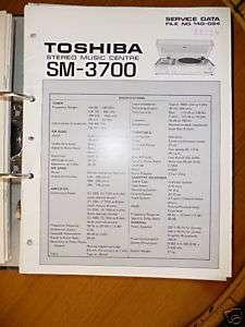 Service Manual für Toshiba SM 3700 HiFi Anlage,ORIGINAL