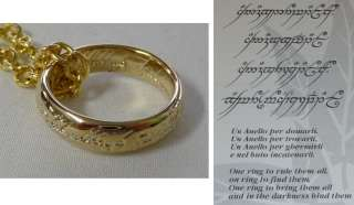 LOTR Lord Rings THE ONE RING OF POWER 24kt GOLD Official CERTIFICATE