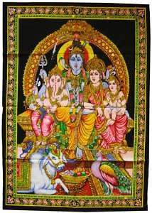 Shiva Parvati Ganesh Skanda   Wandbehang 110 x 80 cm