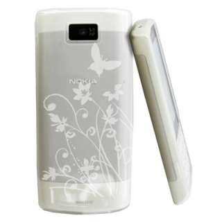 Magic Store   White Clear Floral Gel Case Cover Nokia X3 02 +LCD Film