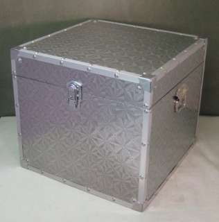 SILVER SQUARE TRUNK STORAGE BOX SIDE//LAMP TABLE H36CM BUY 2 SAVE10