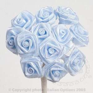 Ribbon Roses Flower Stems Baby Shower Boys Light Blue
