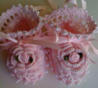 Pink Rose Crochet Baby Booties Christening Reborn Doll