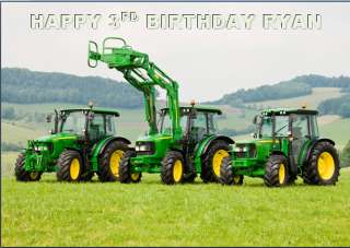 John Deere Tractor Birthday Personalised Card A6