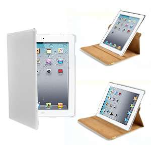 support cuir blanc pour ipad 2 smart cover 360° vertical horizontal