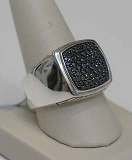 DAVID YURMAN Mens Pave Black Diamond Ring Silver 11 $1500