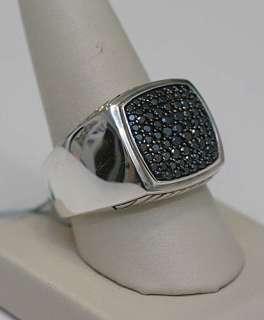 DAVID YURMAN Mens Pave Black Diamond Ring Silver 11 $1500