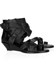 Alexander Wang Eva textured leather wedge sandals   60% Off Now at THE