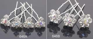 6pc Swarovski AB Crystal Wedding Flower Hair Pins Clips