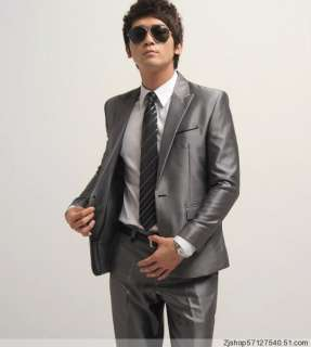Mens Shiny Gray Slim fit Suit MS011 Size XS~XXL
