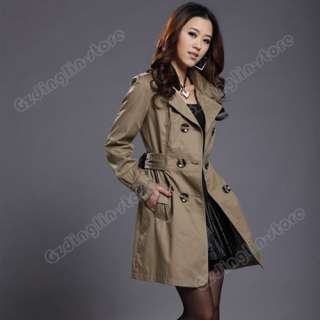New Womens Long Sleeve Slim Fit Trench Double Breasted Coat Jacket