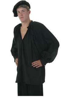Plus Size Black Peasant Shirt   Mens Renaissance Clothing