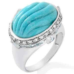 Sleeping Beauty Turquoise, Blue Topaz and Diamond Sterling Silver Ring