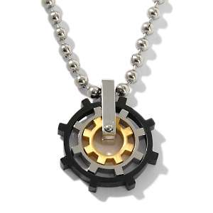 Stainless Steel Ships Wheel Pendant with 22 Bead Chain