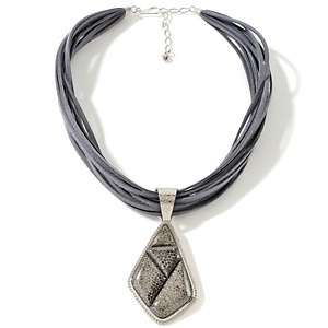 Black and White Spider Web Sterling Silver Pendant with 18 Necklace