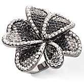 Justine Simmons Jewelry Pavé Crystal Hematite tone Flower Ring