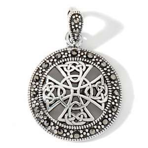 Aine Marcasite Sterling Silver Celtic Cross Round Pendant