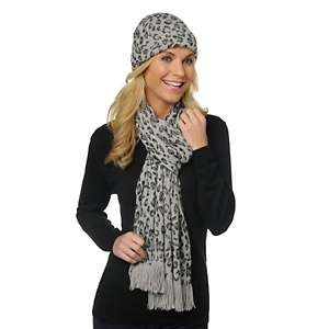 with Stefani Greenfield Leopard Print Hat and Scarf Set