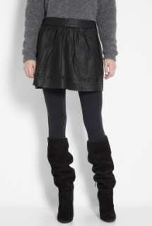 Vanessa Bruno Athe  Black Leather Lazer Cut Skirt by Vanessa Bruno