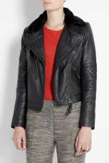 Vanessa Bruno Athe  Black Leather Motorcycle Jacket by Vanessa Bruno