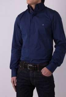 Navy High Collar Stretch Cotton Slim Shirt by Vivienne Westw   Navy