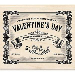 Wood Mounted Rubber Stamp   Valentines Day Label