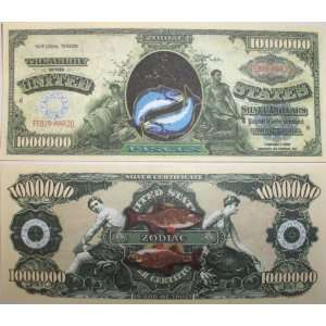 Set of 10 Bills Pisces Million Dollar Bill: Toys & Games